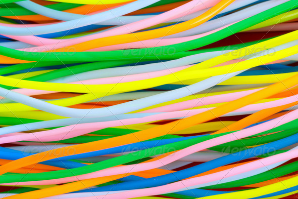 Colourful plastic cables - Stock Photo - Images