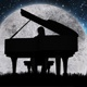 Silhouette Of a Man Playing Piano On The Background Of The Moon - VideoHive Item for Sale