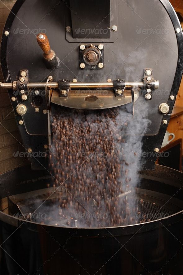 Roasting coffee beans - Stock Photo - Images