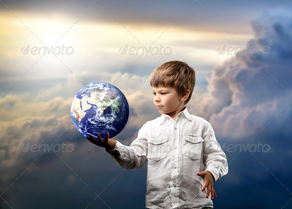 World in his hands - Stock Photo - Images