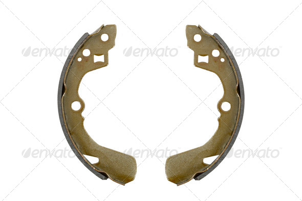 New brake pads drum brake (isolated) - Stock Photo - Images