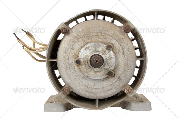 Old electric motor (isolated) - Stock Photo - Images