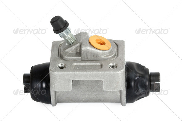 New hydraulic cylinder brake drum (isolated) - Stock Photo - Images