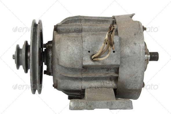 Old electric motor with a pulley (isolated) - Stock Photo - Images