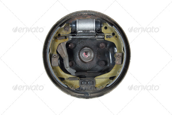 New brake pads and cylinder brake drum (isolated) - Stock Photo - Images