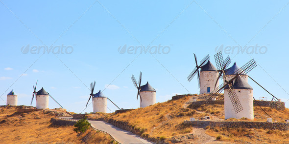 Windmills of Consuegra landmark, panorama. Castile La Mancha, Spain, Europe. - Stock Photo - Images