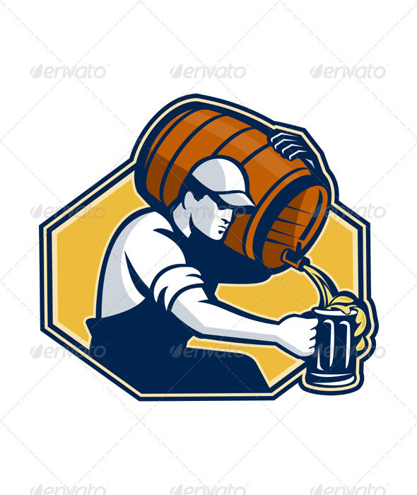 Bartender Worker Pouring Beer From Barrel  - People Characters