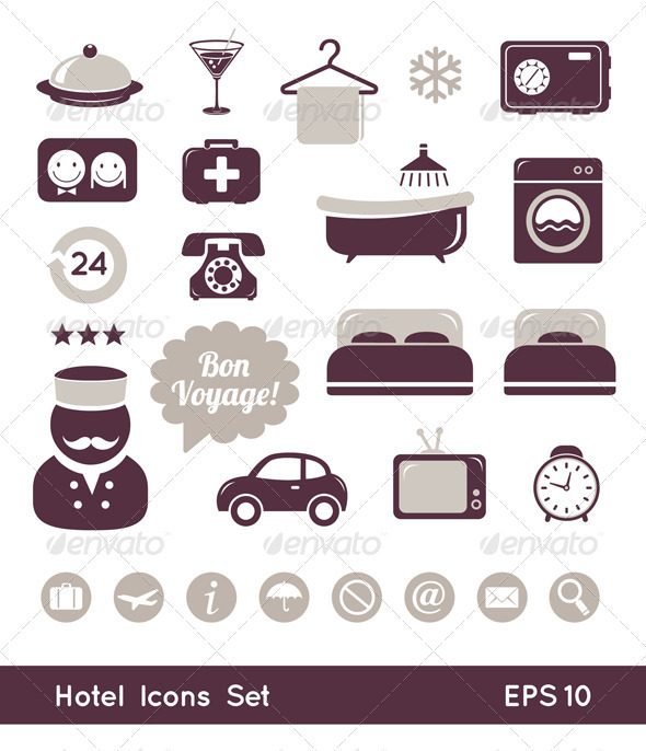 Hotel Icons Set - Travel Conceptual