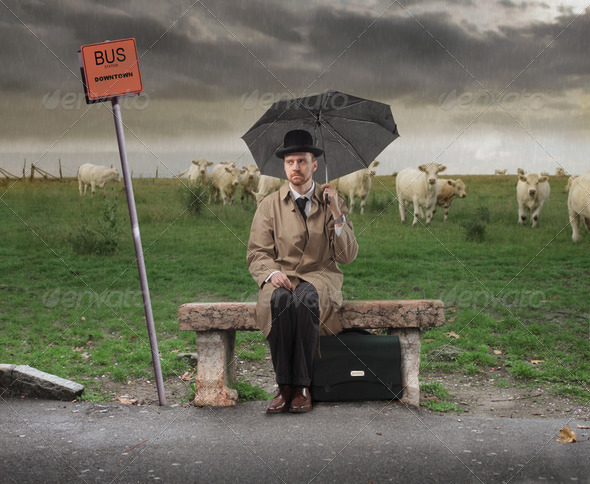 Waiting for the bus - Stock Photo - Images