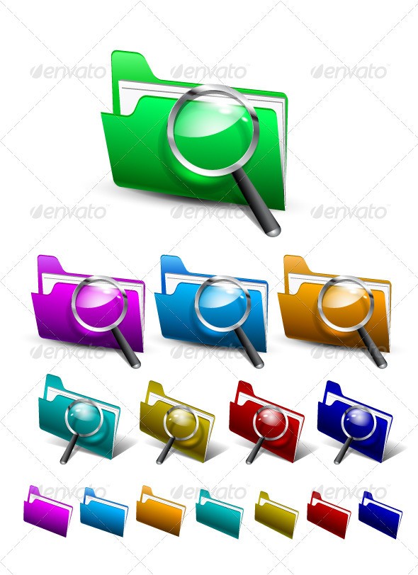 Vector Search Folder Icons - Decorative Symbols Decorative
