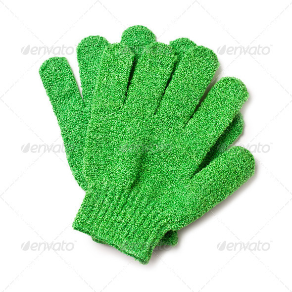 vegetable scrubbing gloves - Stock Photo - Images