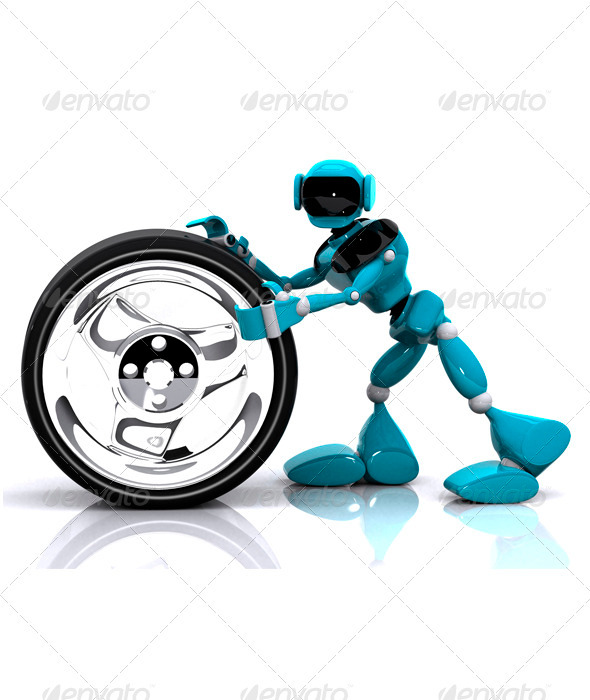 Robot and Wheel - Characters 3D Renders
