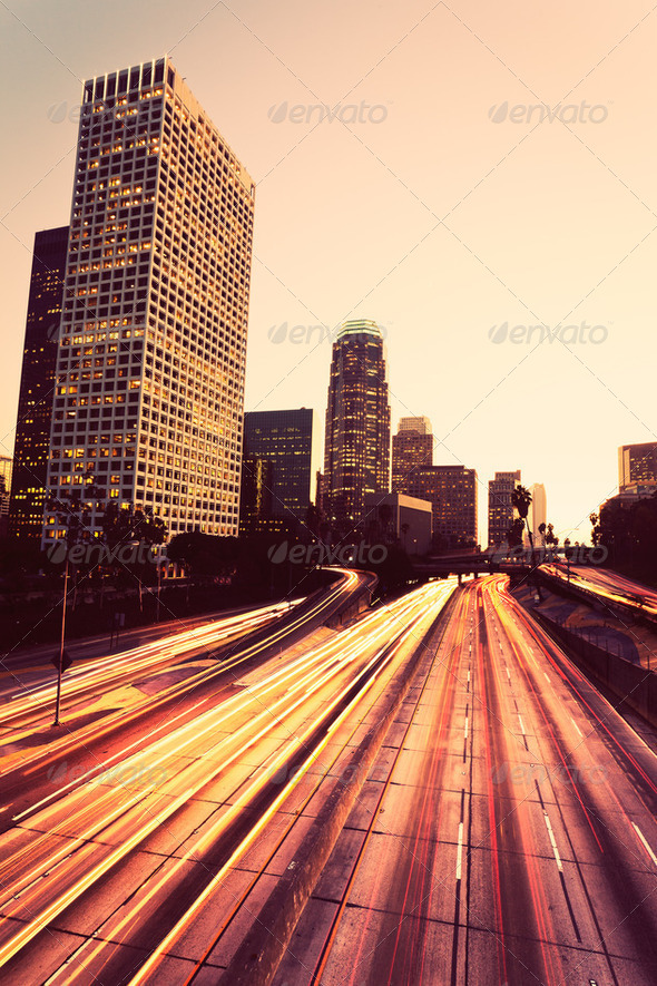 Urban City at Sunset - Stock Photo - Images