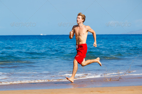 Runner on Beach - Stock Photo - Images
