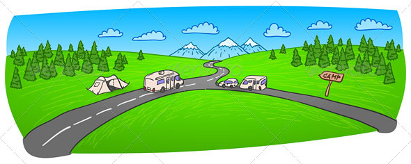 Towing Caravan on the Road - Travel Conceptual