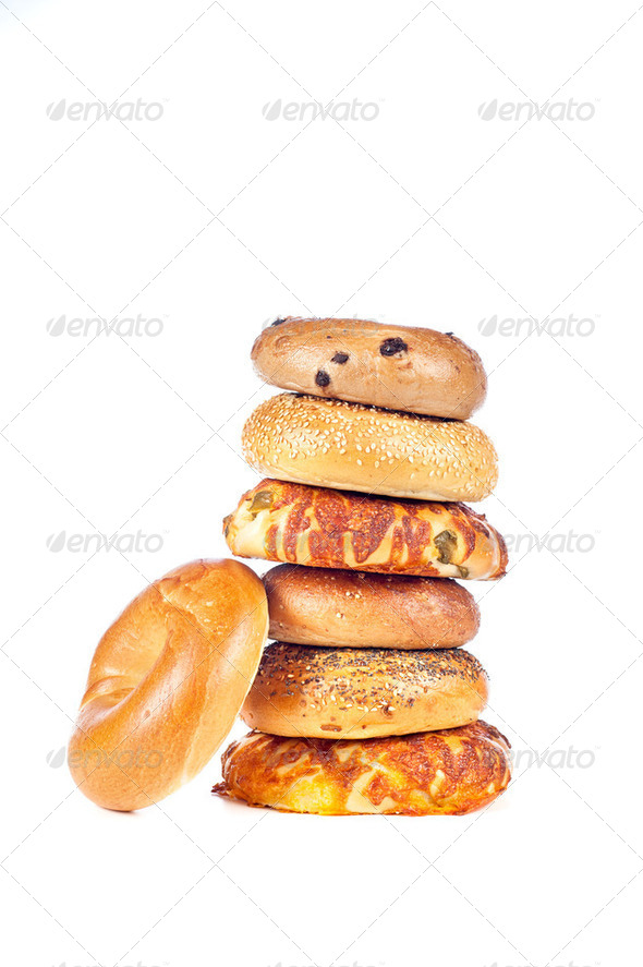 Bagels on white background - Stock Photo - Images