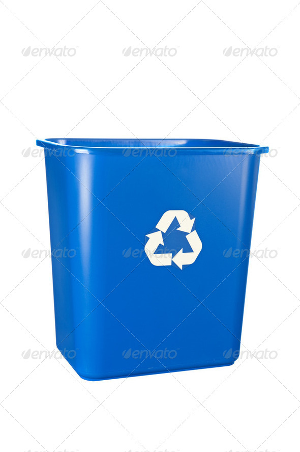 Blue recycling bin - Stock Photo - Images