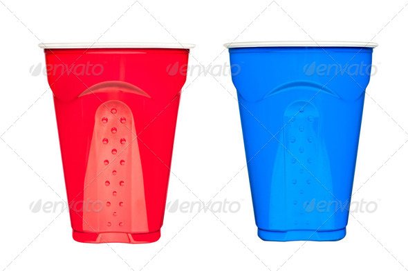 Plastic drinking cups - Stock Photo - Images