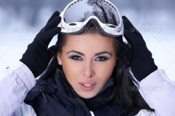 Beauty on snowy outdoors - Stock Photo - Images