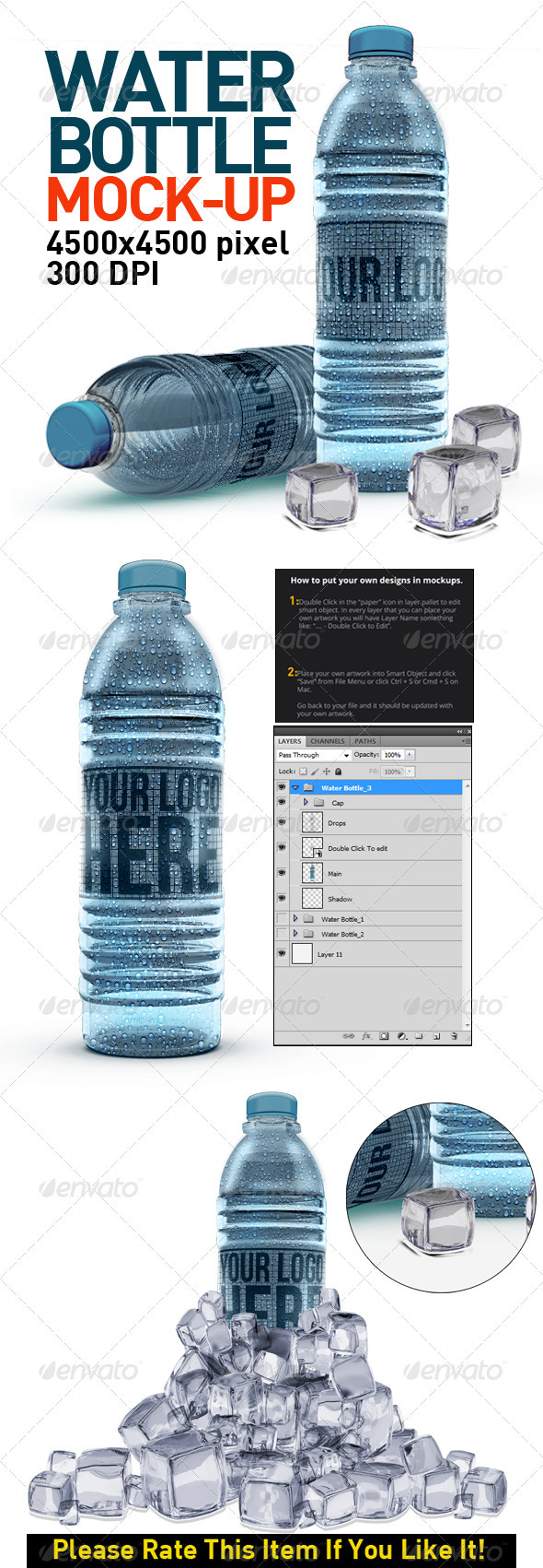 Water Bottles Mock Up - Food and Drink Packaging