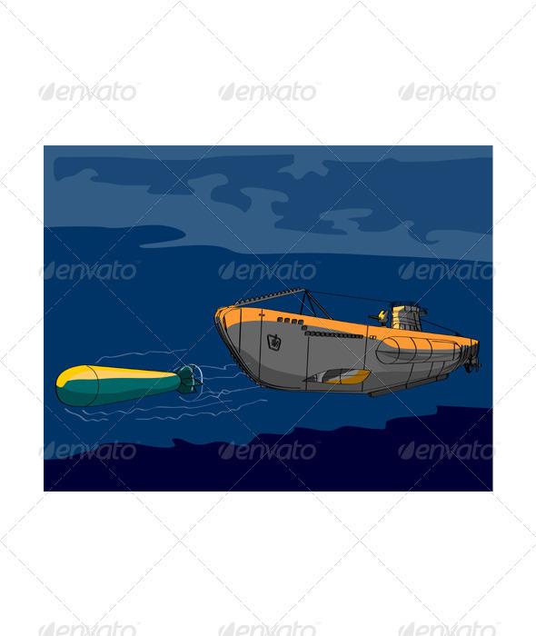 Submarine Boat Retro - Miscellaneous Vectors