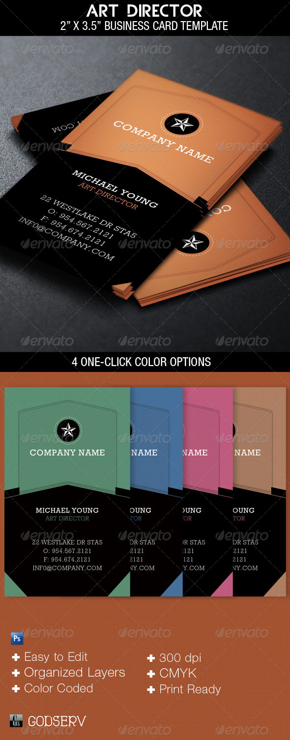 Art Director Business Card Template - Industry Specific Business Cards