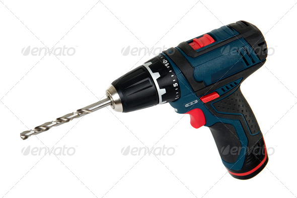 Cordless power tools, isolated on a white background - Stock Photo - Images