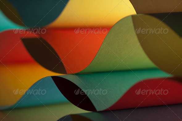 detail of waved colored paper structure - Stock Photo - Images