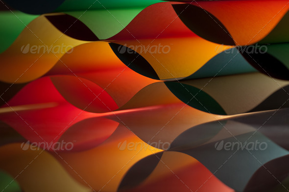curved, colorful sheets paper with mirror reflexions - Stock Photo - Images