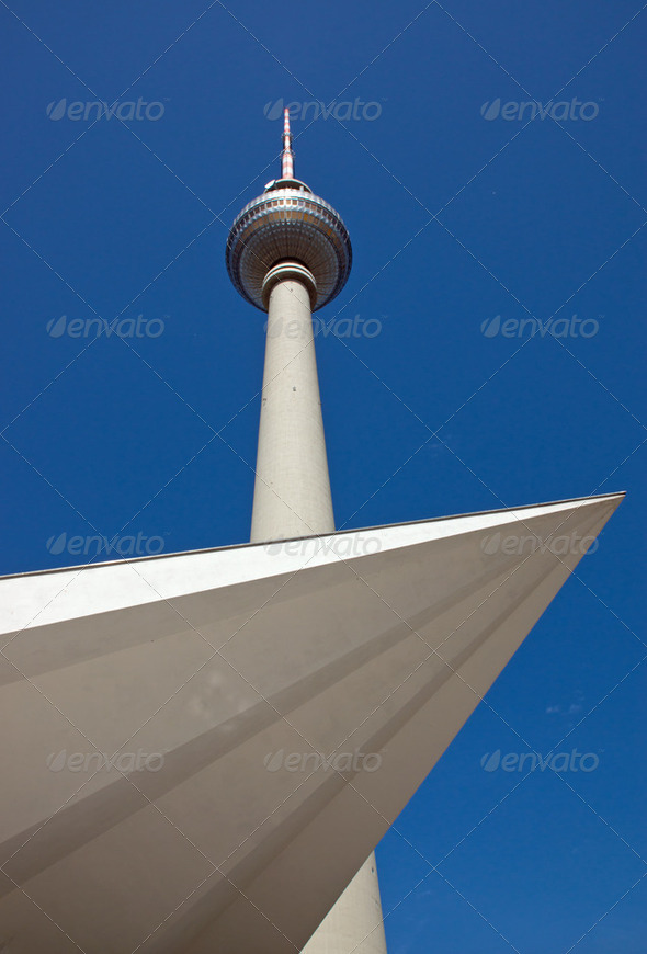 View of Berlins television tower - Stock Photo - Images