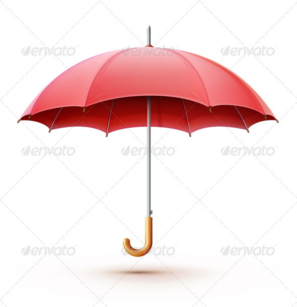 Red umbrella - Objects Vectors