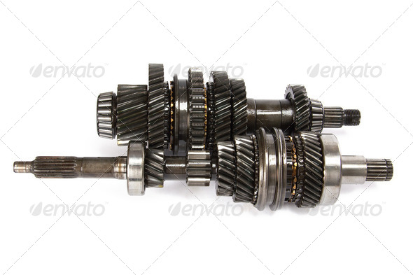 Transmission gears , isolated on a white background - Stock Photo - Images