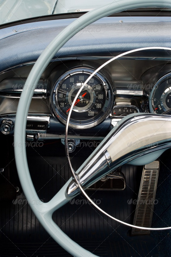 Antique car dashboard - Stock Photo - Images
