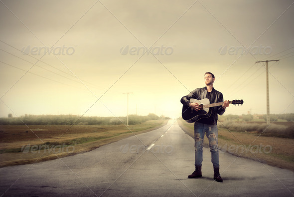 Street Guitarist - Stock Photo - Images