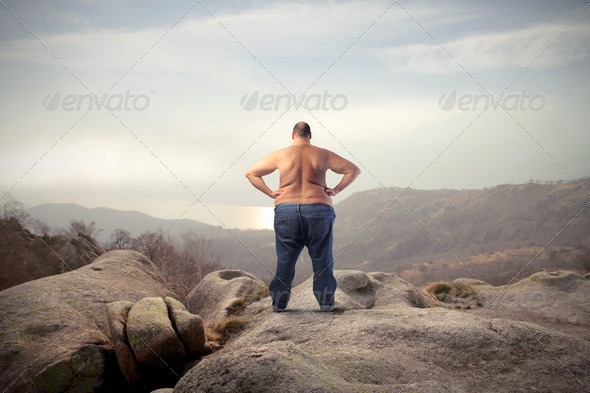 Admiring Fat Man - Stock Photo - Images