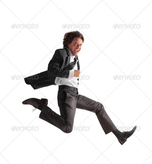 Running Businessman - Stock Photo - Images