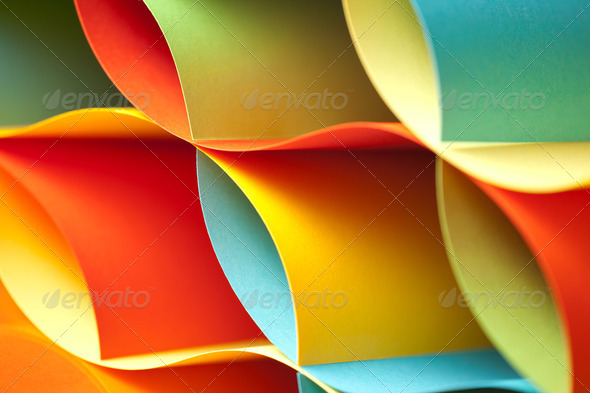 detail of curved, colored sheets of paper - Stock Photo - Images