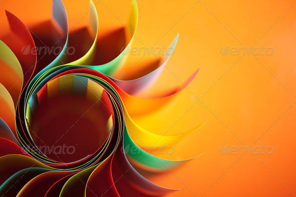 colored paper structure shaped as the sun - Stock Photo - Images