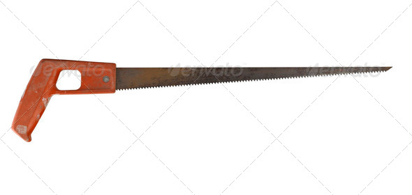 Rusty saw isolated on white background - Stock Photo - Images