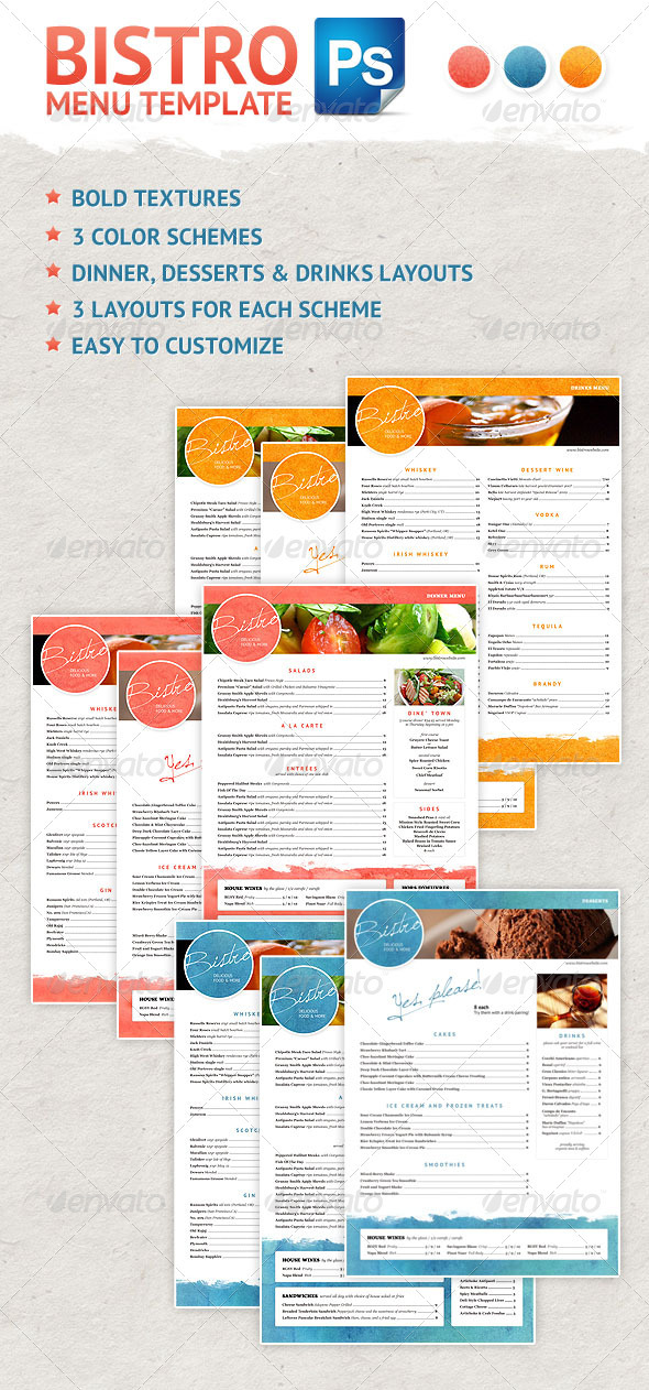 Bistro Menu Design - Food Menus Print Templates