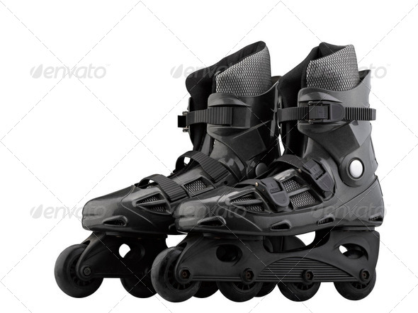 Roller Skates Black and grey isolated on white - Stock Photo - Images