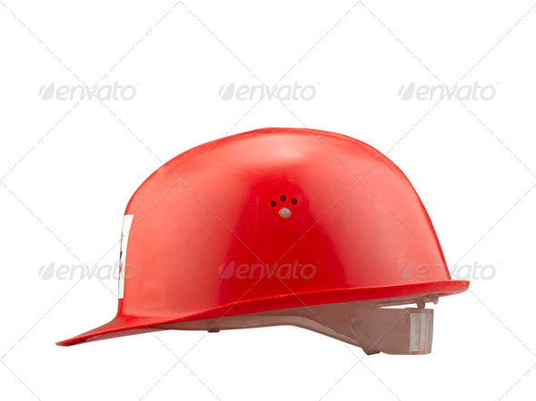 Red plastic safety  fire helmet on white background - Stock Photo - Images