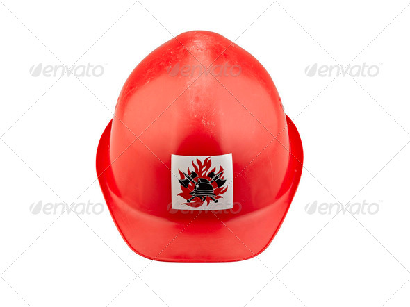 Old red plastic safety  fireman helmet on white background - Stock Photo - Images