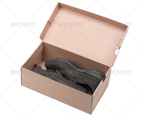 Pair of brown leather shoes in a box. - Stock Photo - Images