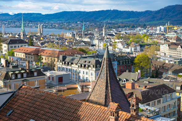 Zurich in the morning - Stock Photo - Images