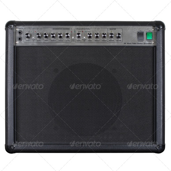 Guitar amplifier black - Stock Photo - Images