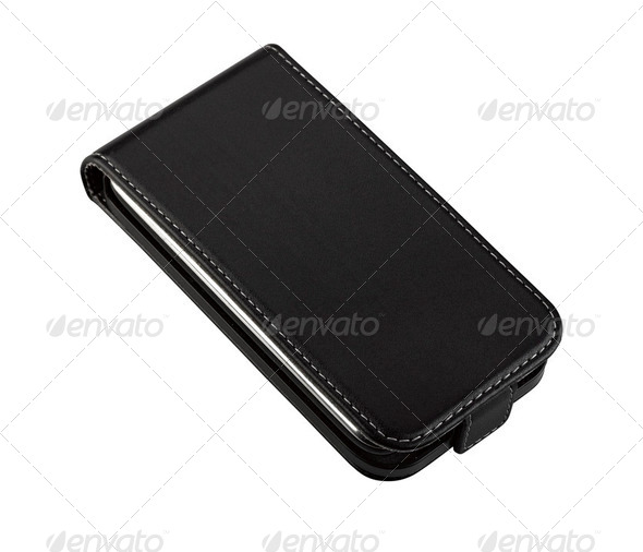 Smartphone in leather case - Stock Photo - Images