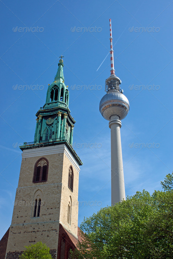 TV Tower and church - Stock Photo - Images