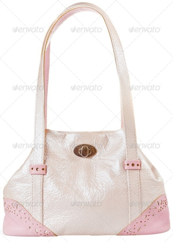 pink leather lady's bag - Stock Photo - Images