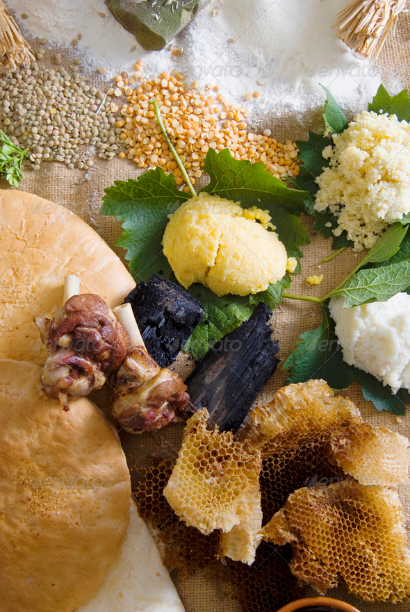 Human diet in the Stone Age - Stock Photo - Images